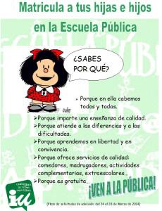 cartel matriculación iu