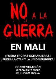 Participamos en la concentración contra la guerra en Mali convocada hoy en Zaragoza