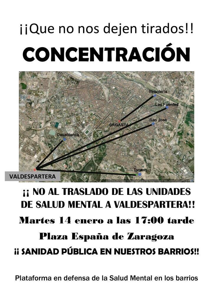 Participamos en la concentración convocada contra el cierre de cinco unidades de salud mental en Zaragoza