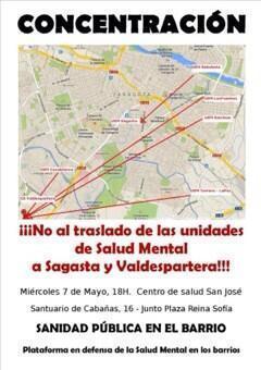 Nos sumamos a la concentración convocada hoy contra el traslado de las unidades de Salud Mental a Sagasta y Valdespartera