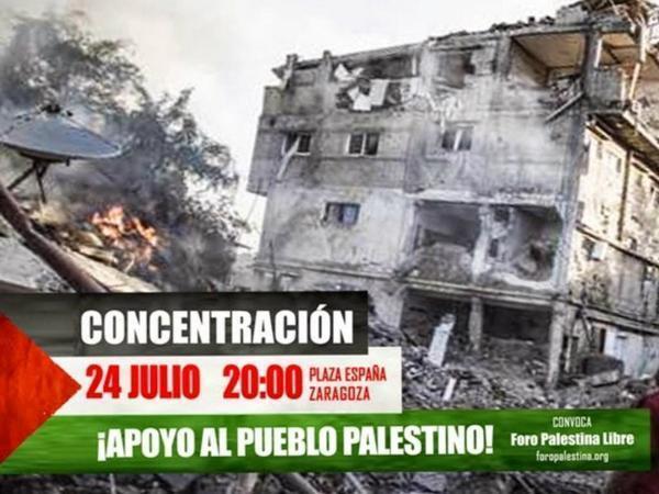 Llamamiento a la participación masiva en la concentración de apoyo a Gaza convocado por el Foro Palestina Libre