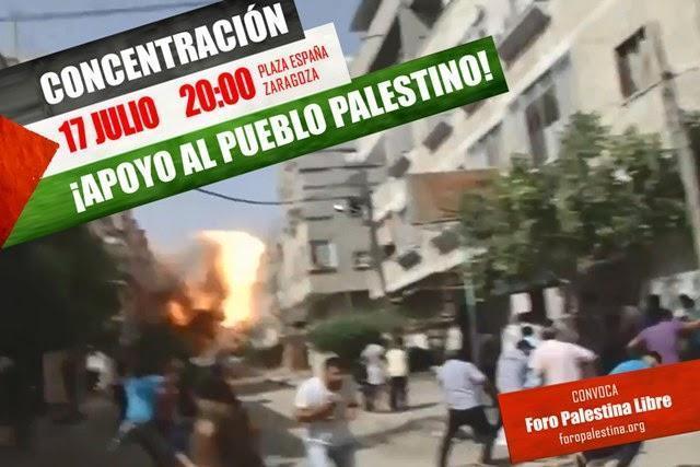 Llamamos a participar en la concentración de apoyo a Gaza convocado por el Foro Palestina Libre