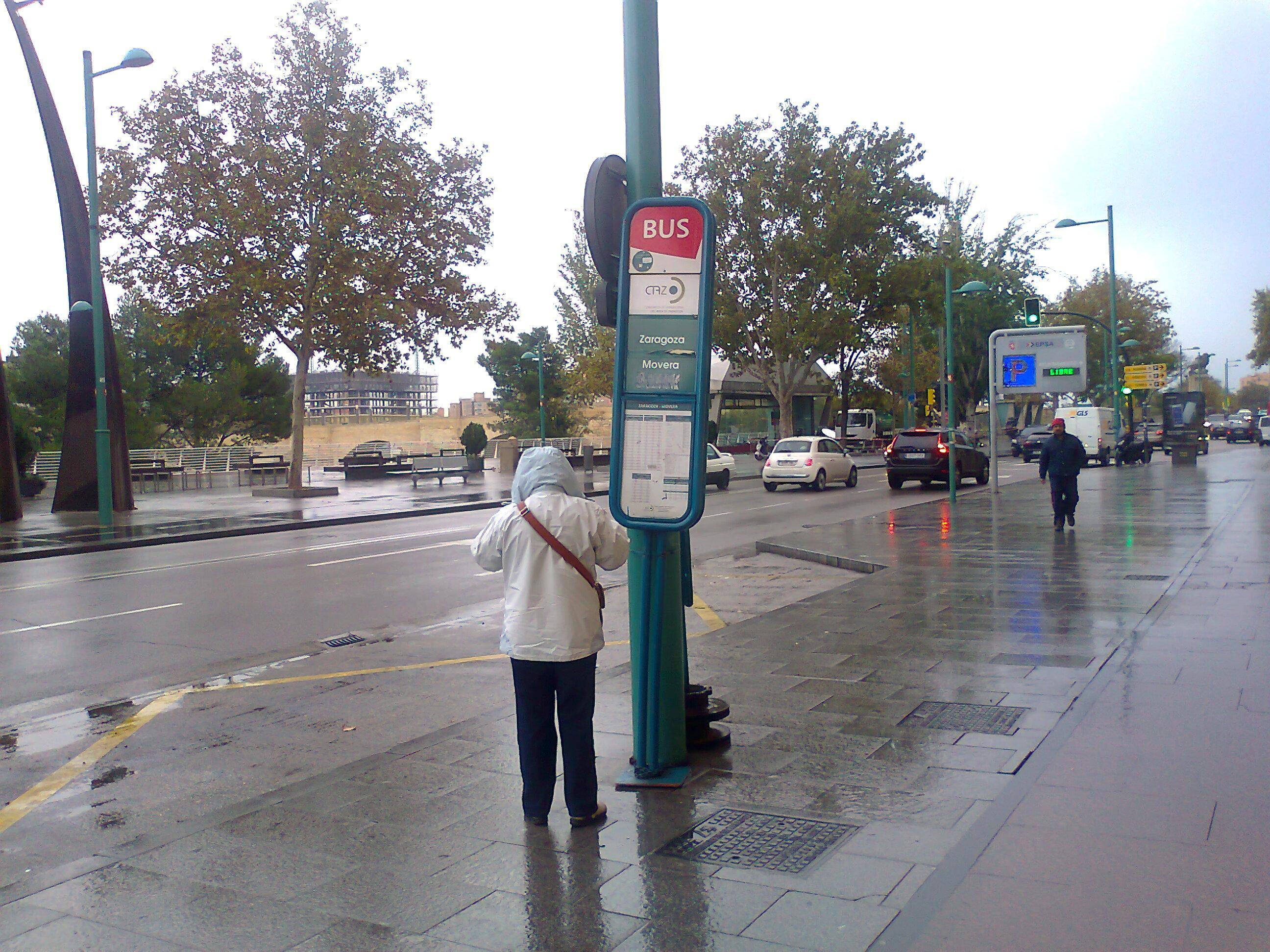 Solicitamos al Consorcio de Transporte que instale una marquesina detrás del Pilar para las líneas de bus de barrios rurales