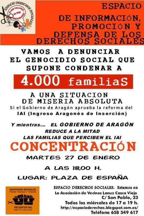 Llamamiento a la participación ciudadana en la concentración en protesta por la gestión del Gobierno de Aragón del IAI