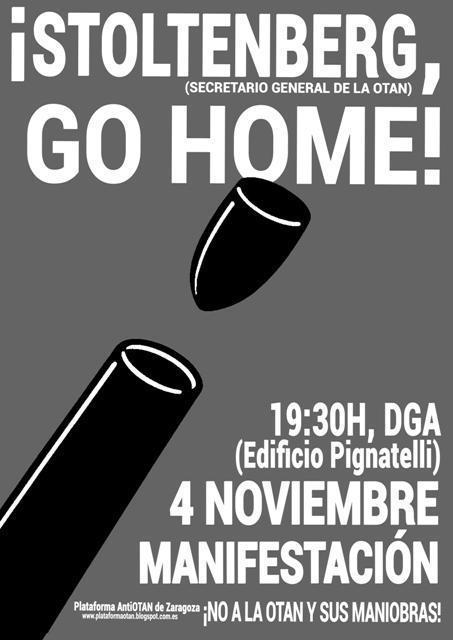 Apoyamos las movilizaciones contra la OTAN convocadas hoy en Zaragoza, Huesca y Teruel ante la visita de Stoltenberg