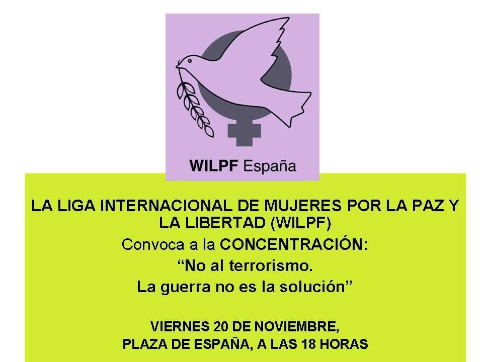 Participamos en la concentración contra la guerra convocada por la Liga Internacional de Mujeres por la Paz y la Libertad