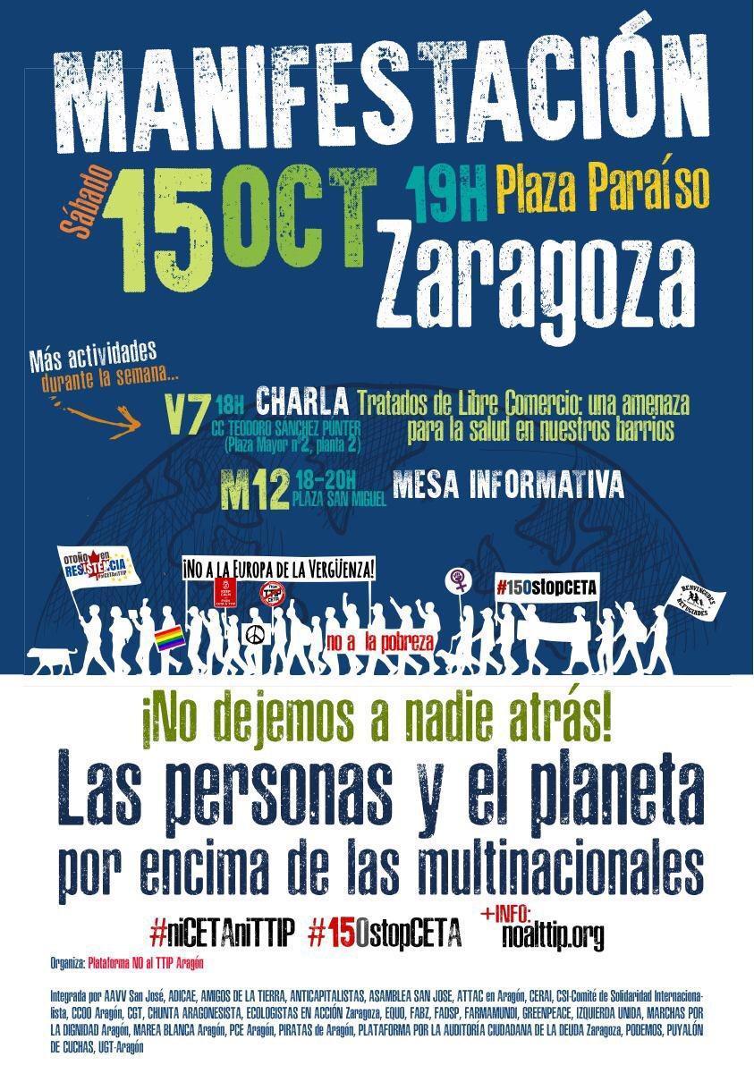 Llamamiento a la participación masiva en la manifestación convocada en Zaragoza contra el CETA y el TTIP