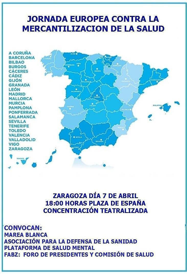 Llamamiento a la participación en la concentración convocada contra la mercantilización de la salud