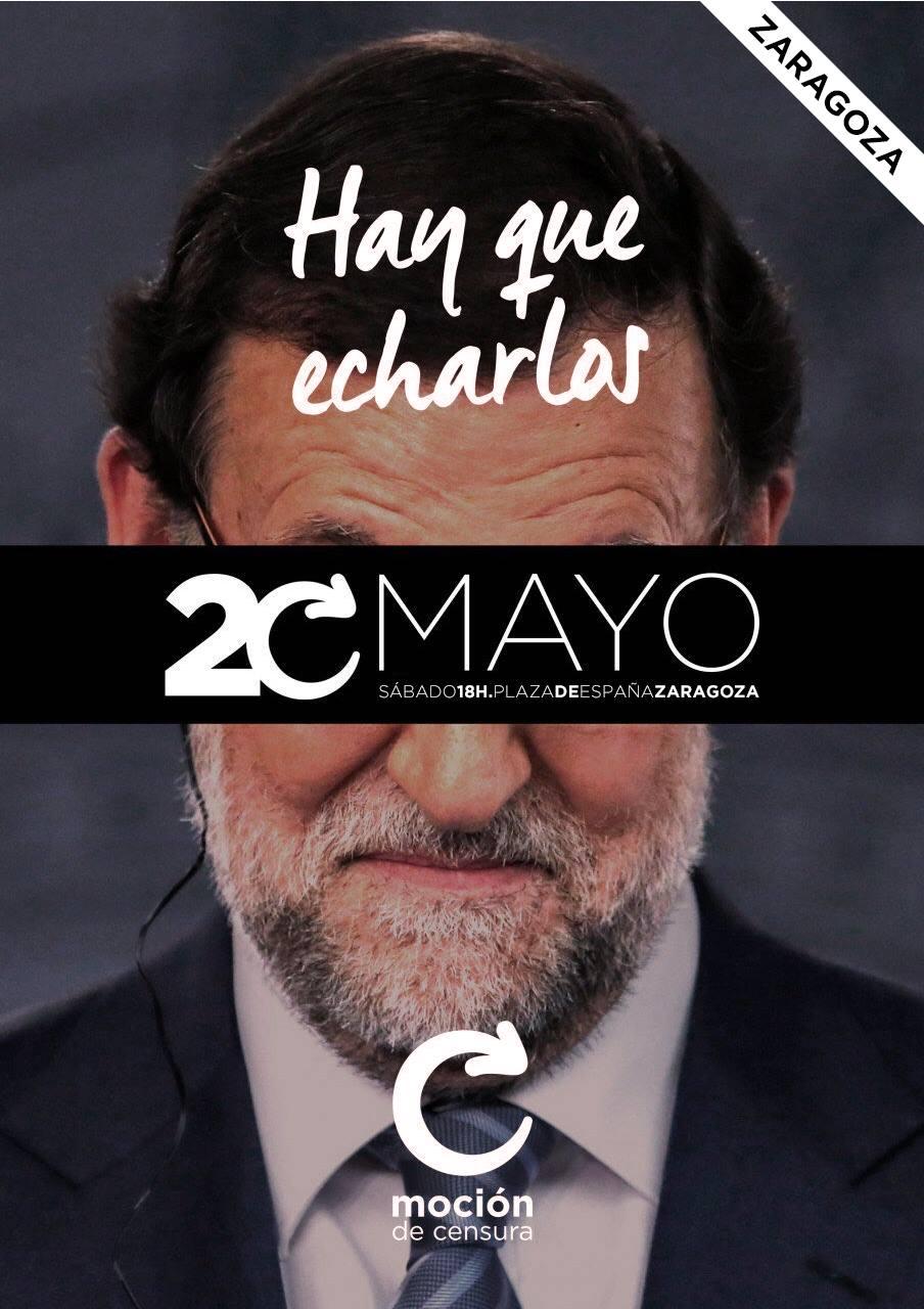 Llamamiento a la participación en las movilizaciones de Madrid y Zaragoza a favor de la moción de censura contra Rajoy ante los casos de corrupción