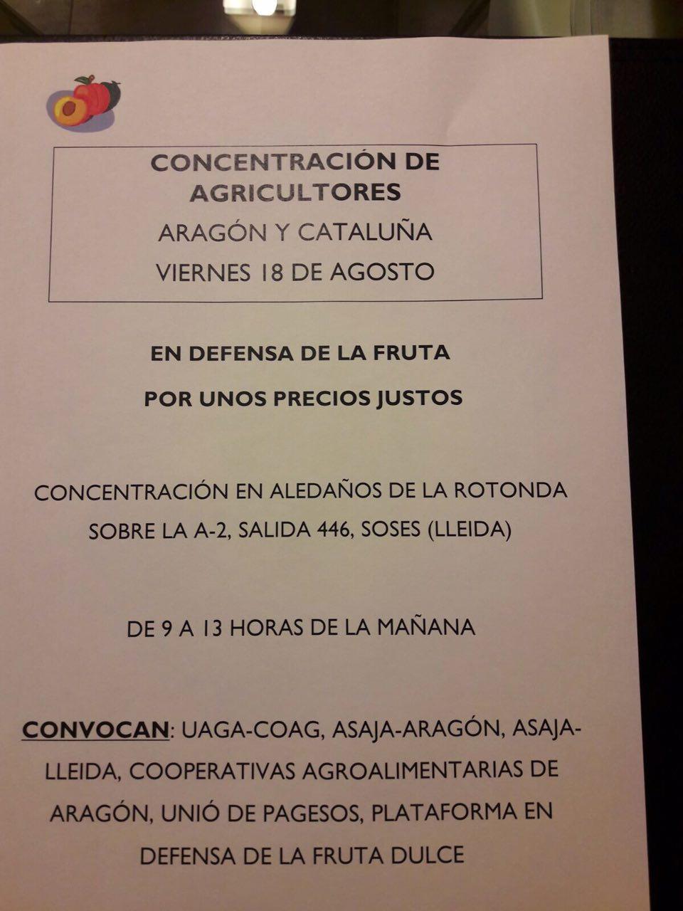 Participamos en las movilizaciones convocadas por sindicatos y cooperativas agrarias ante la crisis de los precios de la fruta