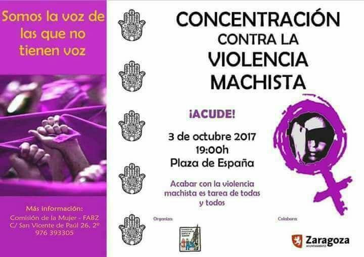 Nos sumamos a la concentración convocada por la FABZ contra la violencia machista