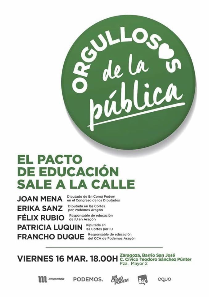 """La cuarta parada de la ruta """"Orgullosas de la pública. El Pacto de Educación"""" sale a la calle"""" llega a Zaragoza"""