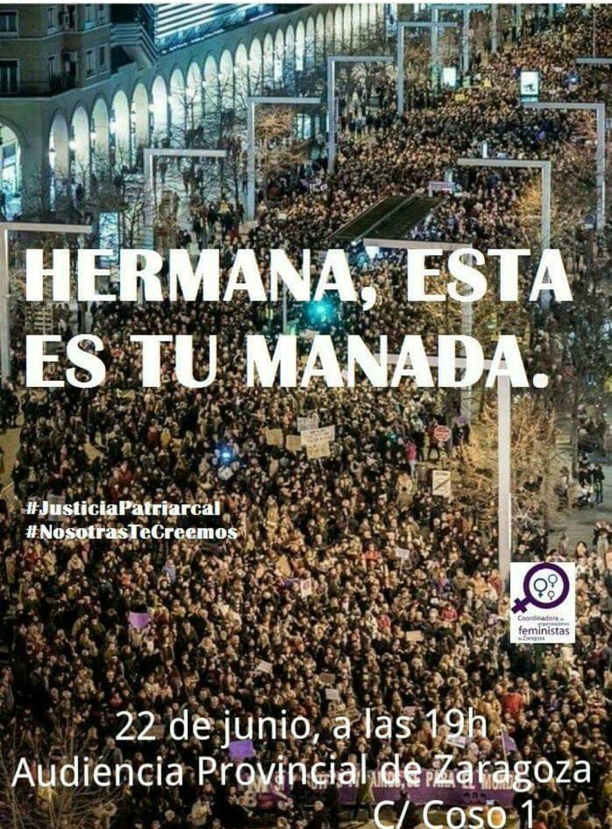 Llamamiento a la movilización social contra la puesta en libertad provisional de los violadores de 'La Manada'