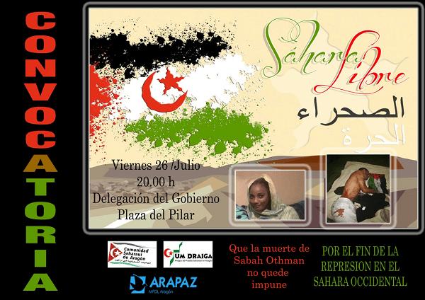 Apoyamos la concentración para denunciar el asesinato de una joven y la represión de la población saharaui de El Aaiún