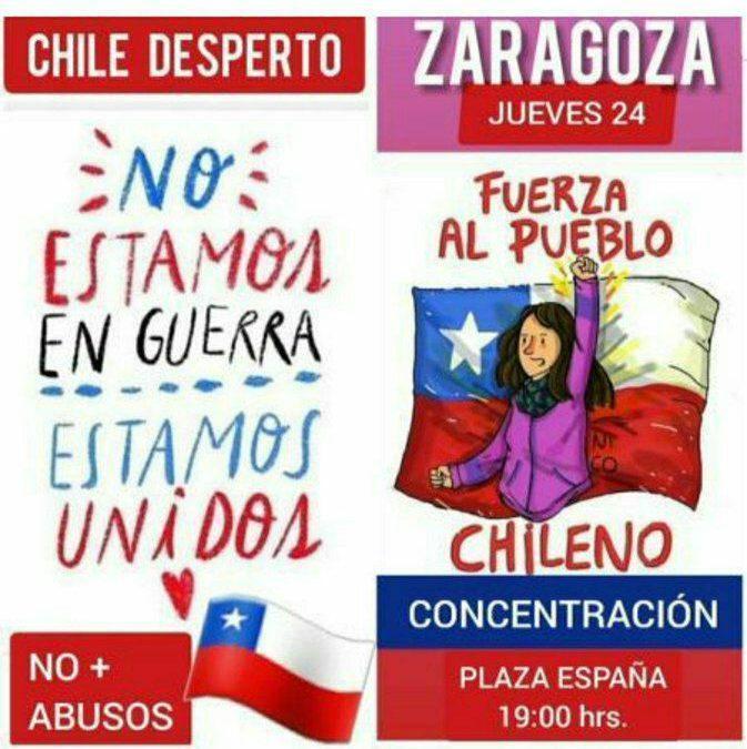 Llamamos a participar en la concentración de apoyo al pueblo chileno