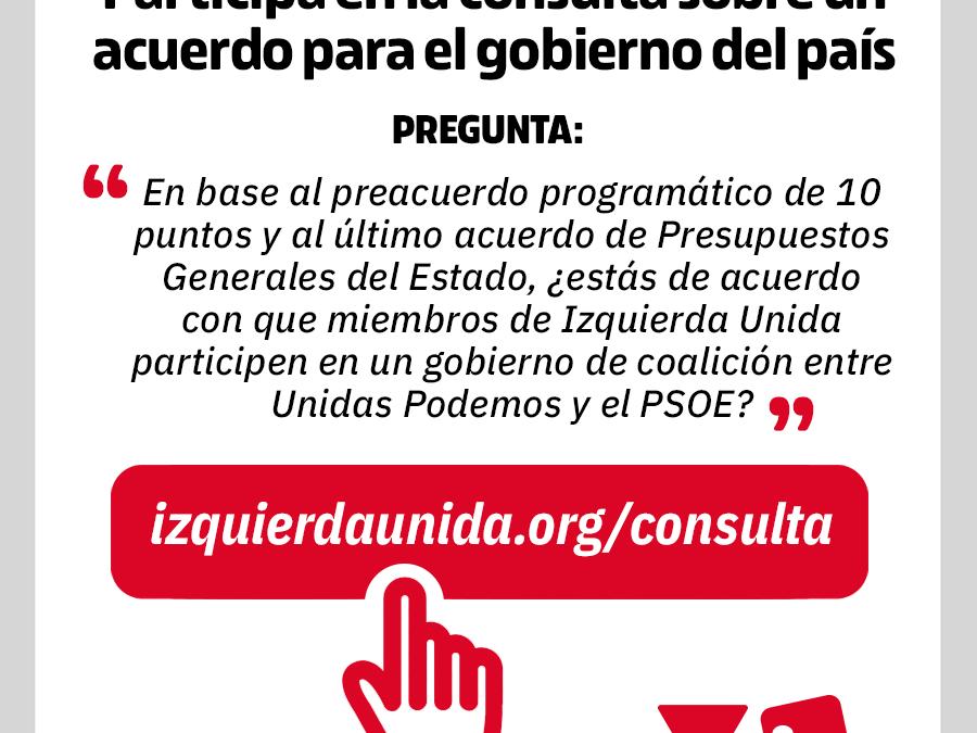 Llamamos a la participación en el referéndum sobre la entrada de IU en el Gobierno de España