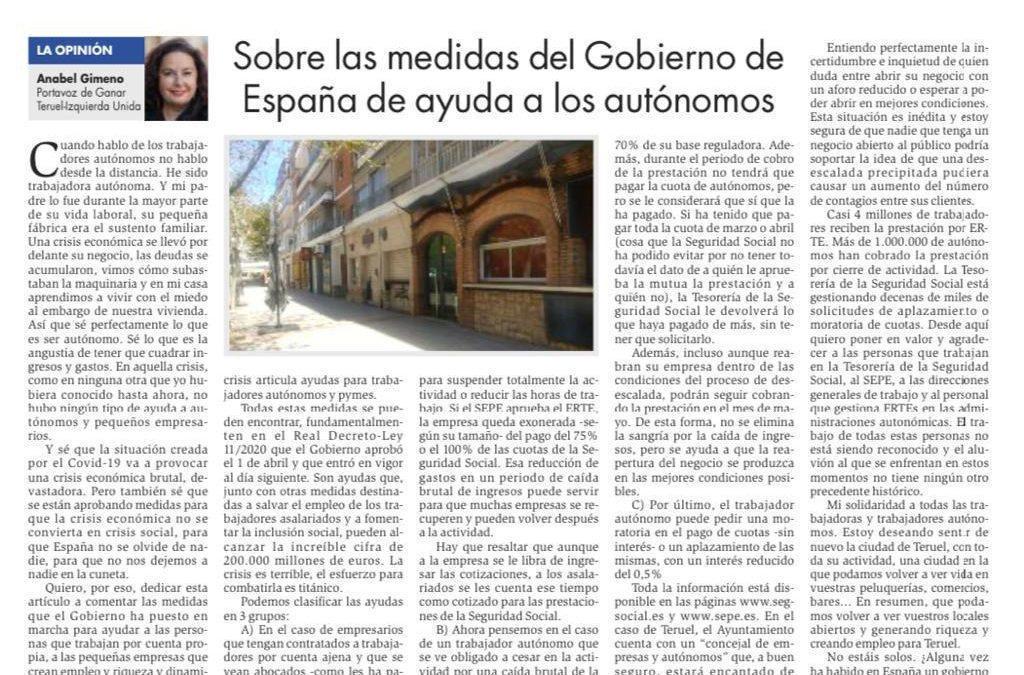 Sobre las medidas del gobierno de España de ayuda a los autónomos