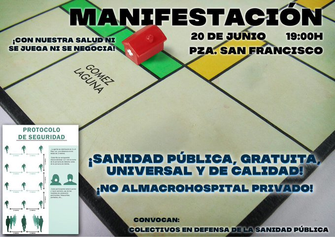 Secundamos las movilizaciones convocadas en defensa de la sanidad pública y en rechazo a la construcción de un hospital privado en Zaragoza