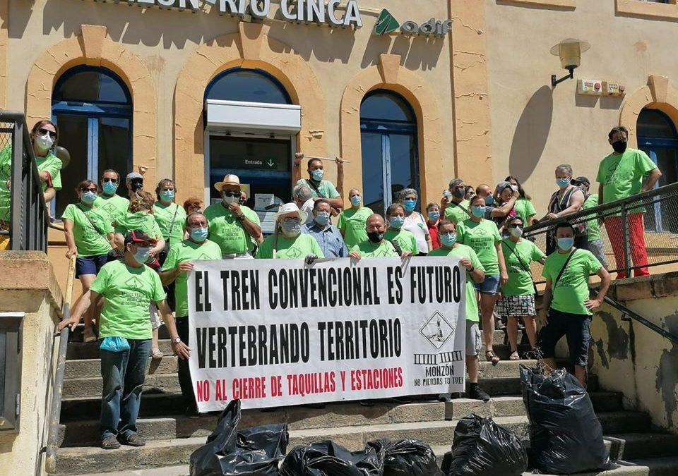 Cambiar Monzón convoca la décima jornada reivindicativa en defensa del ferrocarril y de la Estación Monzón Río Cinca