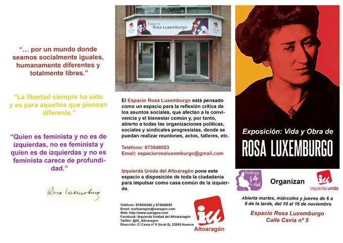 Inauguramos en Huesca un nuevo espacio cultural con una exposición sobre la figura de Rosa Luxemburgo