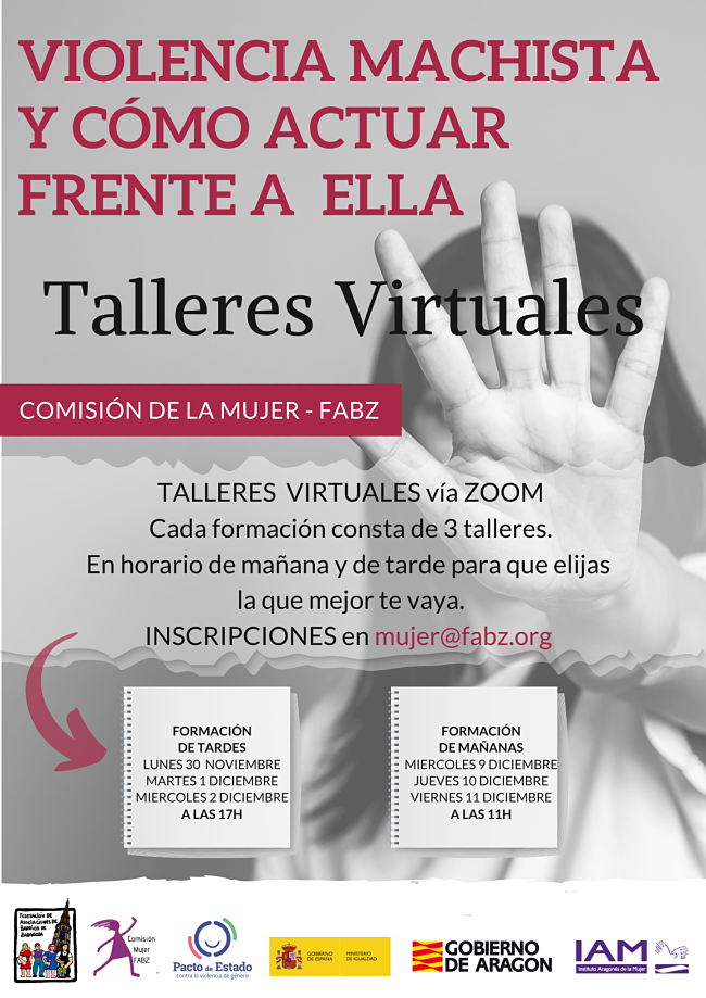 Talleres virtuales: Violencia machista y cómo actuar frente a ella