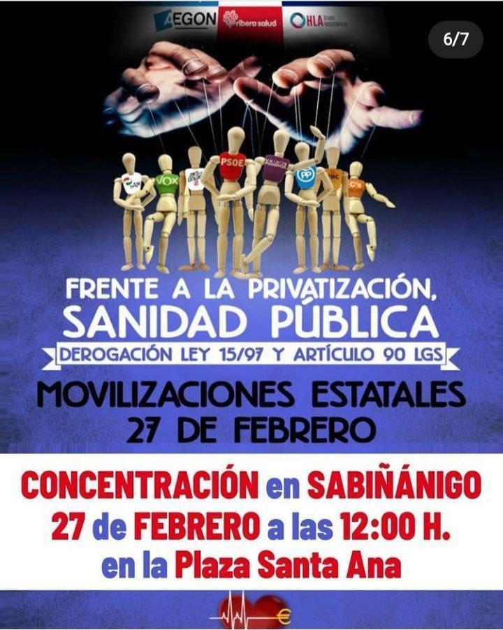 Concentración por la sanidad pública: Sabiñánigo