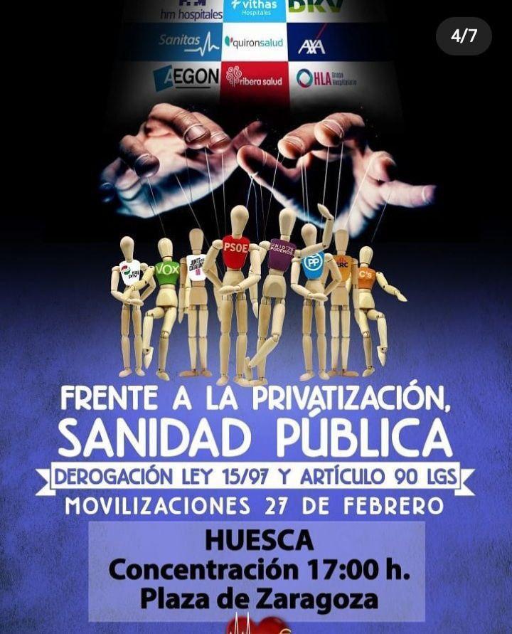 Concentración por la sanidad pública: Huesca