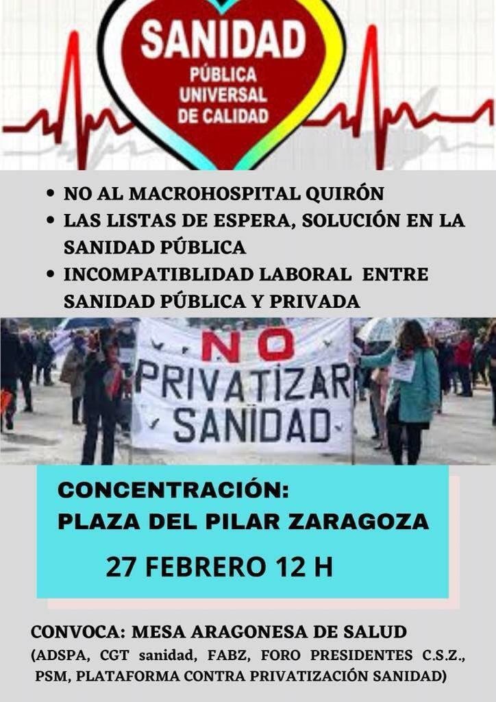 Concentración: No al macrohospital Quirón