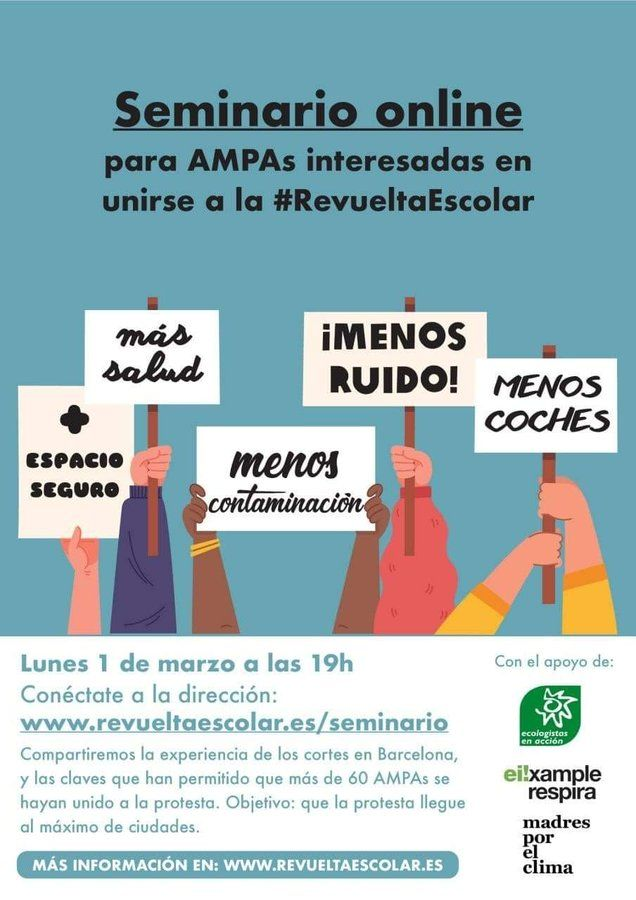 "Seminario online ""Revuelta Escolar"" para AMPAs"