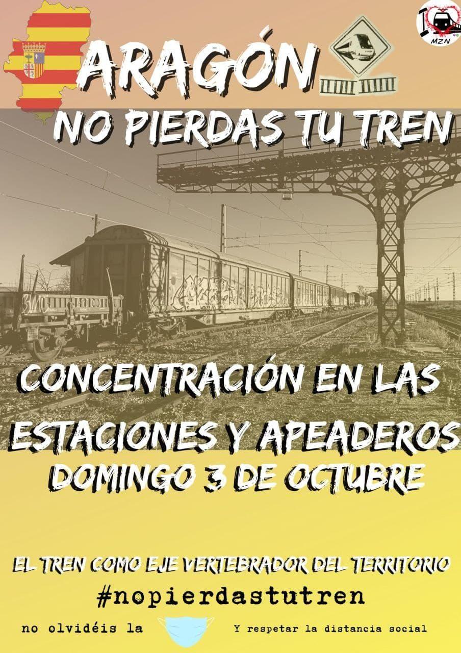 Concentración 'Aragón no pierdas tu tren'