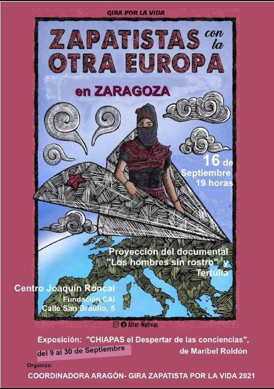 Zapatistas con la otra Europa en Zaragoza