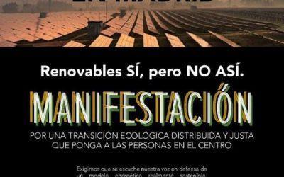 """Hacemos un llamamiento a participar en la movilización """"Renovables sí, pero no así"""" del 16 de octubre"""