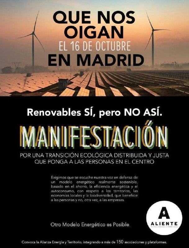 Manifestación en Madrid: Renovables sí, pero NO ASÍ